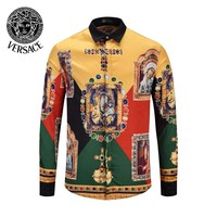 VERSACE Newest Popular Men Women Print Long Sleeve Lapel Shirt Top