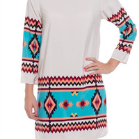 Mint Multi-Color 3/4 Sleeve Tribal Print Dress *MADE IN USA!*