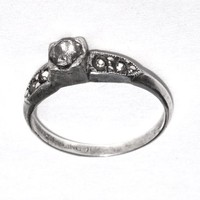 Early UNCAS Sterling Silver Engagement or Cocktail Ring, Art Deco Jewelry, Size 5 3/4 Solitaire, Ladies Retro Costume Jewelry