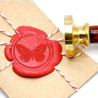 Butterfly Gold Plated Wax Seal Stamp x 1