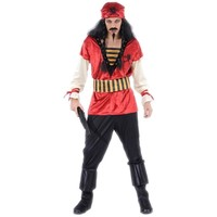 2017 New Red Caribbean Pirate Cosplay Costume For Adults Men Halloween Carnival Festival Party Dress Performance Clothing Set