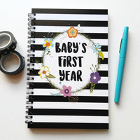 Writing journal, spiral notebook, bullet journal, cute notebook floral stripes sketchbook newborn gift, blank lined grid - Baby's first year
