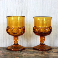 """vintage """"king's crown"""" or """"thumbprint"""" goblets // amber glass // indiana glass co. // 4oz juice glasses"""