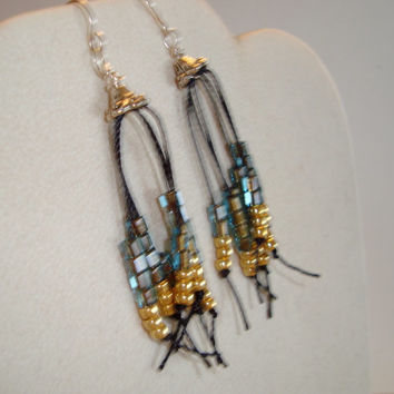 Beautiful Gold and Teal Bead Strands on these Sterling Silver Earrings, BOHO Earrings,  3 1/2 inch Drop, Linen Threads Allow  Swing