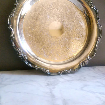 """Lunt Silverplate Tray/ Antique Silver Serving Tray/ Victorian Silver Plate Tray/ LUNT Silversmiths Round Serving Tray, 11"""""""