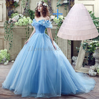 iLoveWedding New Movie Princess Cinderella Cosplay Dress for 2017 Fancy Vintage Blue Ball Gown Prom Party Evening Dresses 26240