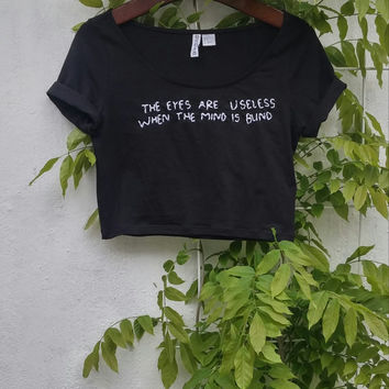 Tumblr Black Crop Top with your own customized Tumblr Quote