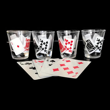 Vintage Shot Glasses with Playing Card Suits Set of 4 Black and Red Retro Barware Las Vegas Game Night Poker Drinking Glasses