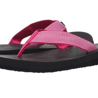 Sanuk Yoga Mat Webbing Fuchsia and White Sandals