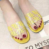 FENDI Summer Newest Fashion Women Casual Flat Transparent Candy Color Sandal Slippers Shoes Yellow