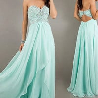 Mint Prom Dresses Evening Formal Gown Party Pageant Dresses Beaded Chiffon Prom Dress Ball Gown