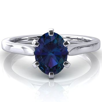 Darci Oval Alexandrite 6 Prong Cathedral Solitaire Engagement Ring