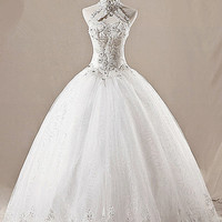 Vintage halter keyhole beaded dropped waistline long ball gown organza lace plus size wedding dress ET103