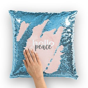 Accent Pillows, Peach Marble Hello Peace Graphic Style Sequin Cushion Cover