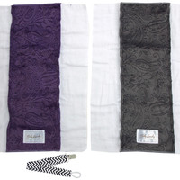 Baby Laundry 91123 Gray & Purple 2-Pk Soft Minky Burp Cloths with Pacifier Clip