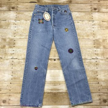 Swan Magic Hand Embroidered Vintage Levis 501XX Jeans Made in USA Womens Size W29 x L29