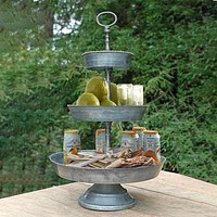 Galvanized 3 Tier Studded Tray In Metal, Silver By Benzara