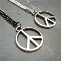 Peace Sign Necklace ~ Long Chain Necklace ~ Summer Necklace ~ Festival Necklace ~ Peace Jewelry ~  Hippie Necklace ~ Bohemian Necklace