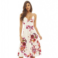 Summer Beach Holiday Floral Printed Long Round Necked Spagehetti Strap Casual Party Playsuit Clubwear Bodycon Boho Dress Top Women Tank Vest Shirt T-shirt _ 5966