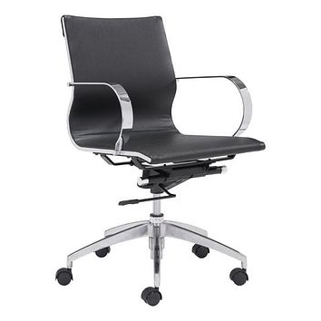 "Leather Office Chair - 27.6"" X 27.6"" X 36"" Black Leatherette Low Back Office Chair"