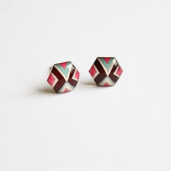 Small hexagon studs, tiny hexagon studs, geometric stud earrings,triangle, brown, pink, turquoise, tribal studs, indie studs, hippie ,hippy