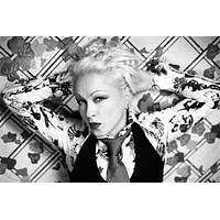"""Cyndi Lauper poster Metal Sign Wall Art 8in x 12in 12""""x16"""" Black and White"""