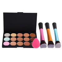 High Quality 15 Color Concealer Palette + Angled Brush + Sponge Puff Makeup Contour