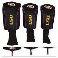 LSU TIGERS THREE-PACK LONG NECK GOLF HEAD COVERS BRAND NEW WINCRAFT