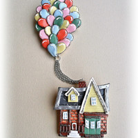 Double colorful brooch - Handmade - Up! -  Jewelry - Best gift - Balloons