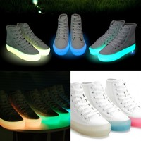 Fashion High Top Flat Shoes Women Lace Up Neon Colors Casual Skateboard Sneaker