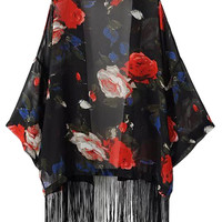 Red and Black Rose Kimono With Fringe