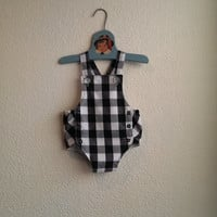 Black and White Gingham Check Vintage Inspired Rockabilly Unisex Baby Romper / Sunsuit with Button Closures