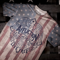 Licensed Official AFFLICTION Mens T-Shirt AMERICAN LIBERTY Fighter USA FLAG Motorcycle Biker $54