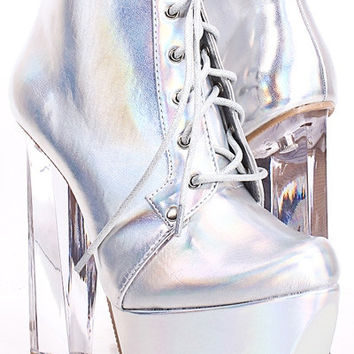 Silver Holographic Clear Platforms