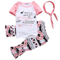 Flower Baby Girls Kids Outfits Casual T-shirt+Leggings Pants 2pcs Clothes Set