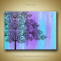 Love birds on tree landscape modern contemporary original acrylic painting on canvas - Dream like Purple & Aqua color Wall Art Home decor