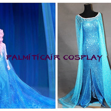 Frozen Elsa Costume Elsa Coronation Cosplay Outfit,elsa coronation disney dress Custom Any Size For adult,Kids And Plus Size
