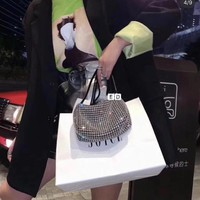 Kuyou Gb59828 Alexander Mcqueen Handbag Top Handles In Silver Calf Leather With Diamond 19cm