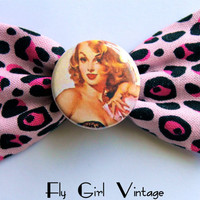 Meeeeow- 1950's-Pin-Up-Girl-Hair-bow-Clip-Rockabilly-Hot-Pink-Cheetah-Fabric-Sexy-Playboy-For Women-Teens-Punk-cute-1940's