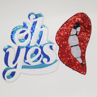 Clothes patch apparel & sewing fabric cute letter oh yes white logo fashion red lips sequins iron on patches for clothing