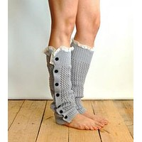 Nellie Net Leg Warmers Gray Lace Top Button Up Side Soft Boho Legwarmers Boot Toppers One Size