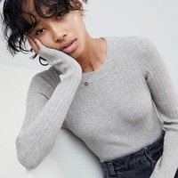 ASOS DESIGN ribbed sweater in fine knit at asos.com
