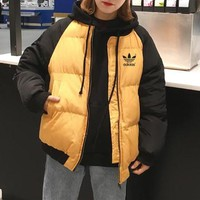 """""""Adidas"""" Women Sport Casual Fashion Multicolor Zip Cardigan Thickened Long Sleeve Cotton-padded Clothes Coat"""