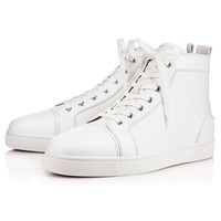 Christian Louboutin Cl Louis Mens Flat White Leather Classic Sneakers