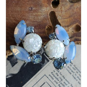 Juliana white confetti lucite with opal glass and blue rhinestone clip on earrings