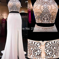 Halter beaded two piece prom dresses mermaid prom dress with slit pageant dresses