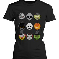 Halloween Monsters Women's Shirt Humorous Graphic Tee for Haunt Night