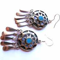 HP🎉 Turquoise Sun Earrings Silver Chandelier 925