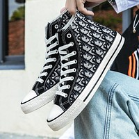 Dior new high-top canvas shoes trendy all-match student tide shoes casual cloth shoes boys and girls street style board shoes