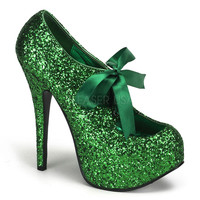 Green Glitter Bow Front Holiday Heels